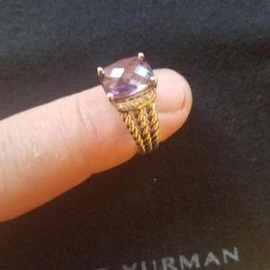 David Yurman Amethyst & Sterling Ring Size 6